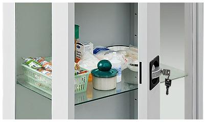 Klamka szafy lekarskiem z zamkiem