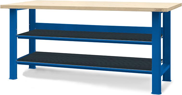 Stół warsztatowy z dwiema półkami