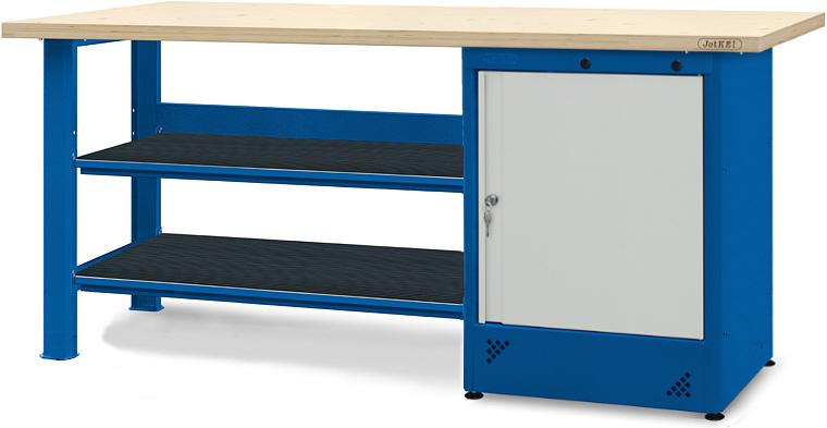 Stół warsztatowy z szafką do dwoma półkami
