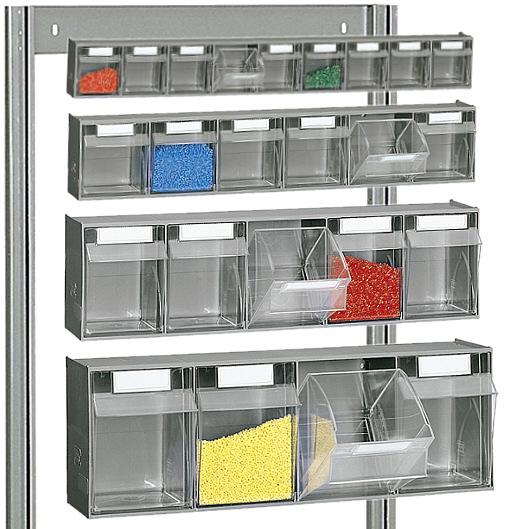 Zestawy pojemników uchylnych osadzane w ramie regału